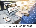 woman reading online article  ... | Shutterstock . vector #685123042