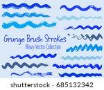 set of blue paint brush curves... | Shutterstock .eps vector #685132342