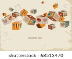 retro  background with cubes in ... | Shutterstock .eps vector #68513470