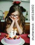 adorable kid girl in elegant... | Shutterstock . vector #685136002