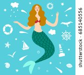 lovely mermaid with decorative... | Shutterstock .eps vector #685140556