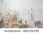 wall in the artist's studio... | Shutterstock . vector #685153198
