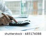 businessman working with... | Shutterstock . vector #685176088
