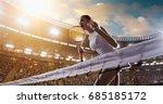 female tennis player celebrates ... | Shutterstock . vector #685185172