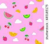 flat art simple pink summer... | Shutterstock .eps vector #685185175