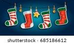 banner christmas stockings on... | Shutterstock .eps vector #685186612