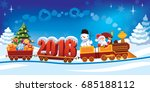 new year 2018 and santa claus... | Shutterstock .eps vector #685188112