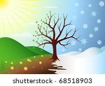 tree in winter and spring | Shutterstock .eps vector #68518903