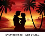 young couple in silhouette