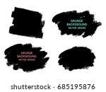set of black paint  ink brush... | Shutterstock .eps vector #685195876