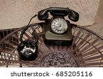 old phone and ashtray with... | Shutterstock . vector #685205116