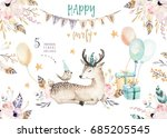 Stock photo cute baby deer nursery animal isolated illustration for children bohemian watercolor boho forest 685205545