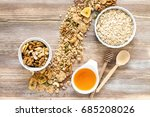 healthy homemade oatmeal with... | Shutterstock . vector #685208026