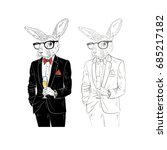 dressy bunny with champagne ... | Shutterstock .eps vector #685217182