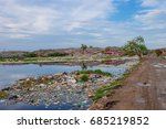 brid eat food on a garbage dump ... | Shutterstock . vector #685219852