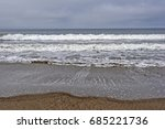 gray  grey day at the beach.   Shutterstock . vector #685221736