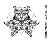 three of a cat's head. mystical ... | Shutterstock .eps vector #685238206