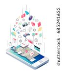 isometric concept of smartphone ... | Shutterstock .eps vector #685241632