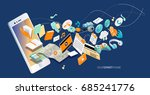 isometric concept of smartphone ...   Shutterstock .eps vector #685241776
