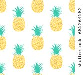 cute pineapples background.... | Shutterstock .eps vector #685264582