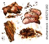 variety of cooked meat.... | Shutterstock . vector #685271182
