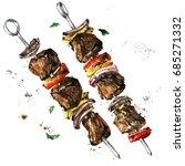 meat kebab. watercolor... | Shutterstock . vector #685271332