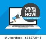 hand holding megaphone. speech... | Shutterstock .eps vector #685273945