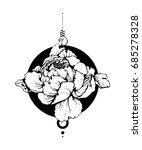freehand ink flower sketch.... | Shutterstock .eps vector #685278328