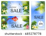 summer sale banners with palm... | Shutterstock .eps vector #685278778