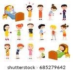 cartoon sick boy and girl set... | Shutterstock .eps vector #685279642