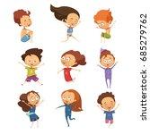 set of isolated cute cartoon... | Shutterstock .eps vector #685279762