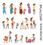 motherhood child rearing... | Shutterstock .eps vector #685279768