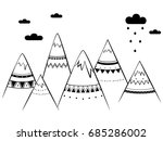 mountains in ethnic performance ... | Shutterstock .eps vector #685286002