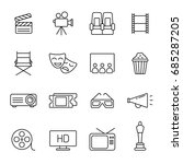 cinema icons  thin monochrome... | Shutterstock .eps vector #685287205