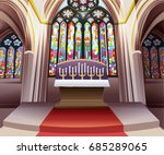 inside church stained glass... | Shutterstock .eps vector #685289065