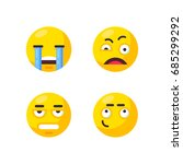 set of cute smiley emoticons.... | Shutterstock .eps vector #685299292