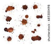 Coffee Stains Vector Set. Brow...