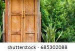 beauty retro wood gate in... | Shutterstock . vector #685302088