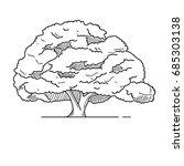 oak tree icon line  | Shutterstock .eps vector #685303138