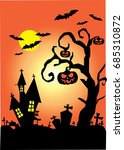 orange and black halloween... | Shutterstock .eps vector #685310872