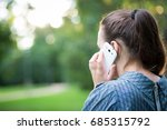 pretty young girl calling to... | Shutterstock . vector #685315792