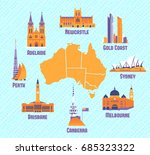 australian cities. icons of... | Shutterstock .eps vector #685323322