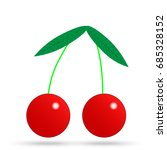 red cherry vector icon | Shutterstock .eps vector #685328152