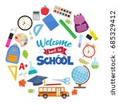 set of different school... | Shutterstock .eps vector #685329412