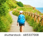 lonely pilgrim with backpack... | Shutterstock . vector #685337008