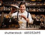 smiling bartender with fancy... | Shutterstock . vector #685352695