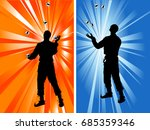 silhouettes of two jugglers on...   Shutterstock .eps vector #685359346