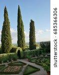 Small photo of CASTELNUOVO BERARDENGA, ITALY – JULY 10, 2017 - Certosa Pontignano, Cloister inside the Carthusian, Italian garden