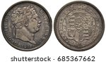 Small photo of Great Britain British silver coin 1 one shilling 1817, ruler King George III, laureate head right, date below, crowned shield with lions, Irish harp and other designs