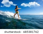 young beautiful girl surf on... | Shutterstock . vector #685381762